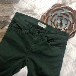 Madewell Jeans Pants 27 Skinny Skinny Deep Green